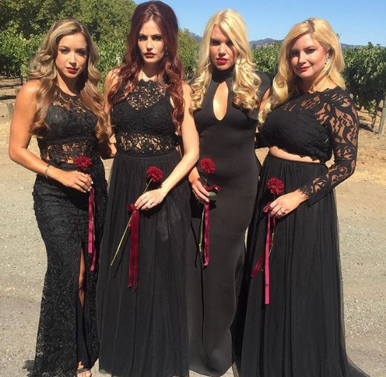 Bridesmaids in black lace dresses