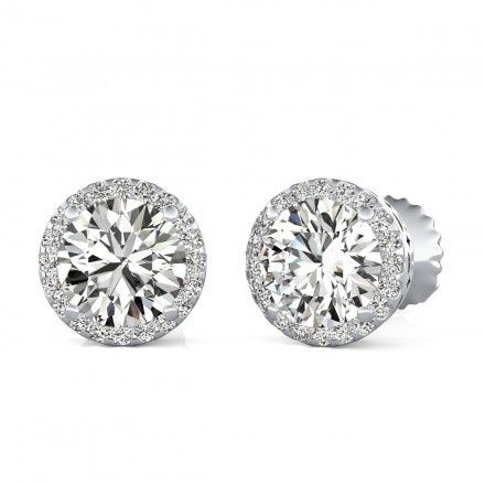 Tmx 1449531544912 1687 Round Cut Halo Stud Earrings White Gold 014 Los Angeles wedding jewelry
