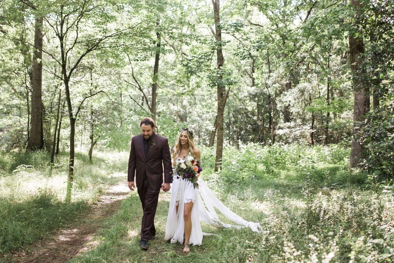 Newlywed's walking to reception.