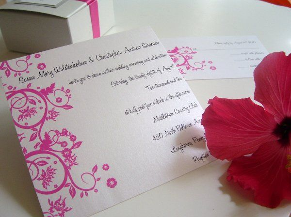 Pretty in Pink This single panel elegant invitation is everything you need for your wedding day. The...