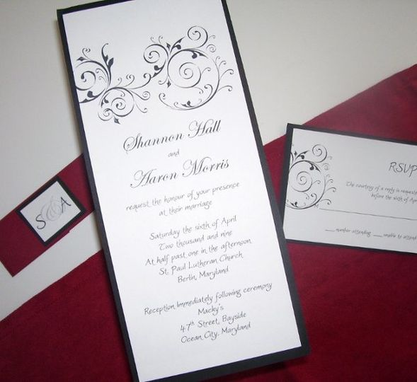 Whisper This black, white and red rectangle shaped invitation has just the right touches for any...