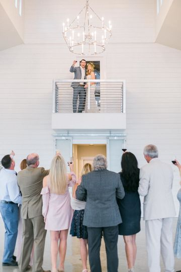 Bride and groom in the balcony