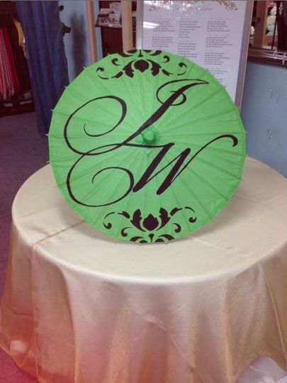 Green parasol with Vintage Grape font and design color