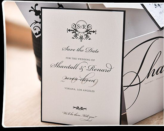 Quiet elegant distinguishes this Save the Date card. Jet black ink on shimmery white cardstock gives...