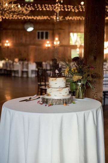 Wedding cake in the barn