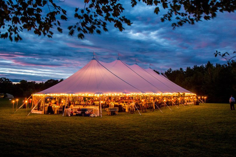 Evening tent setup