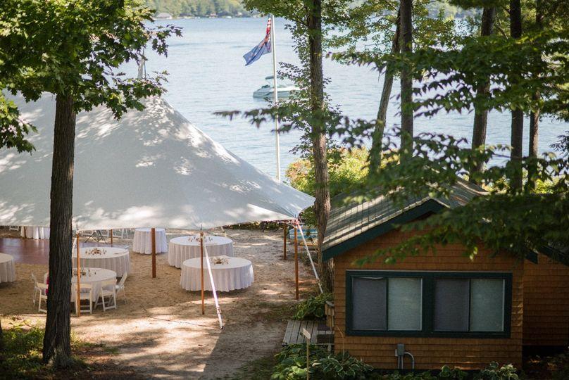 Sailcloth tent along lake