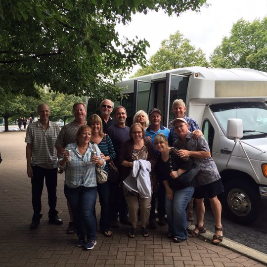 Standing by the minibus