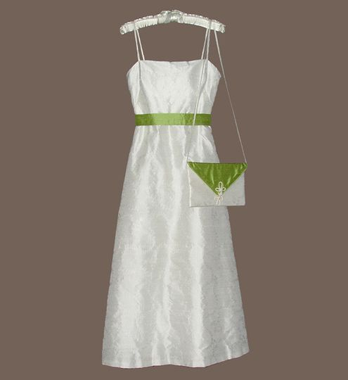 White dress with a touch of green