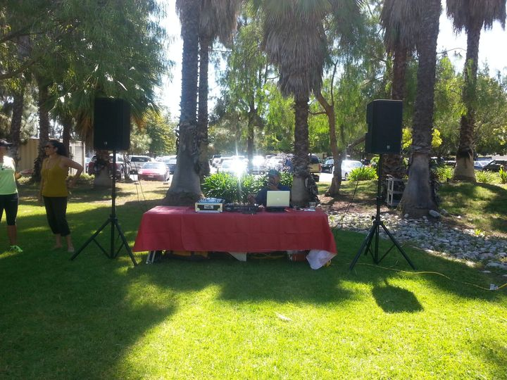 Setting up for outdoor reception at Telecare La Casa, Long Beach, CA.