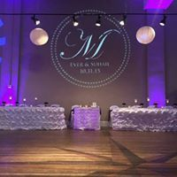 Monogram with uplighting 2 columns and uplighting the head table