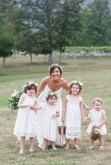 Bride with her flower girls