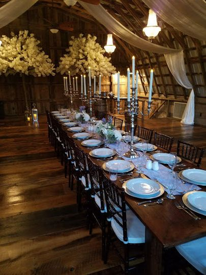 Southern table setting with silver candelabras