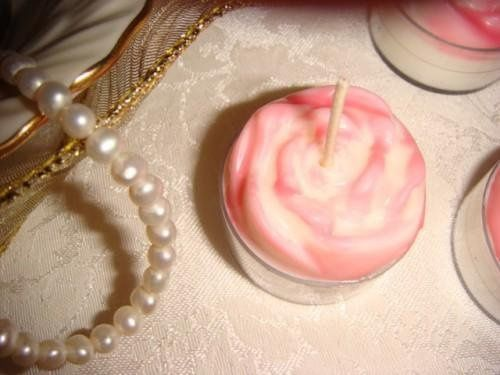Rose Tealight - Custom tinted to coordinate with a Pink & White wedding.