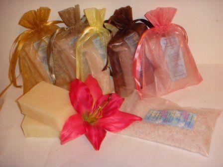 Bath Salts or Natural soaps in organza bags for a unique favor idea.