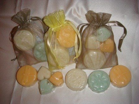 Favor bags shown in yellow and taupe.  Each bag contains 2 guest soaps or wax tarts and a small bag...