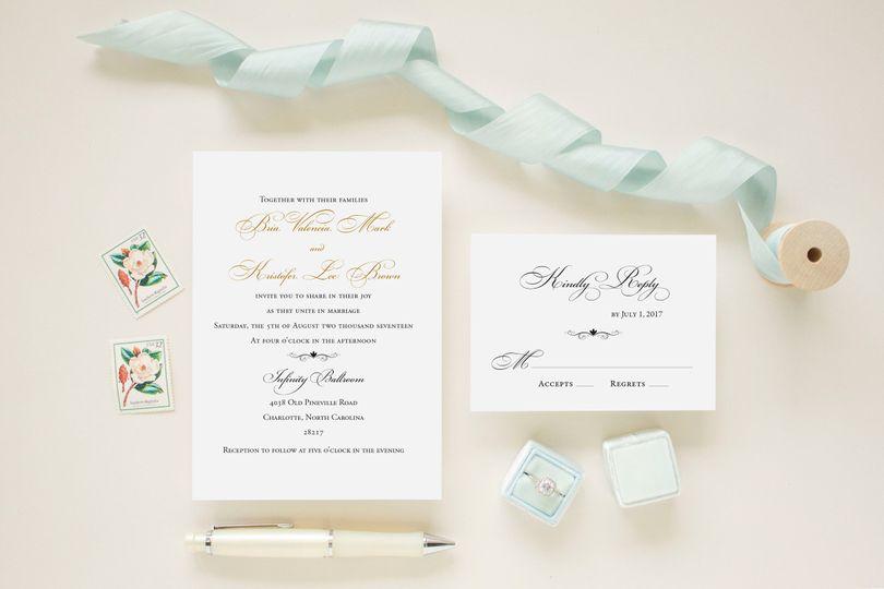 classic gold foil wedding invitation