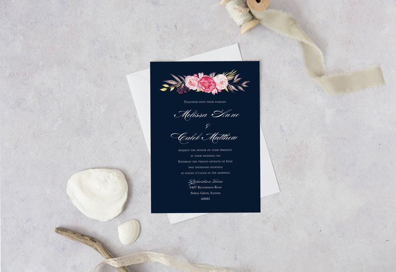 navy floral wedding invitation