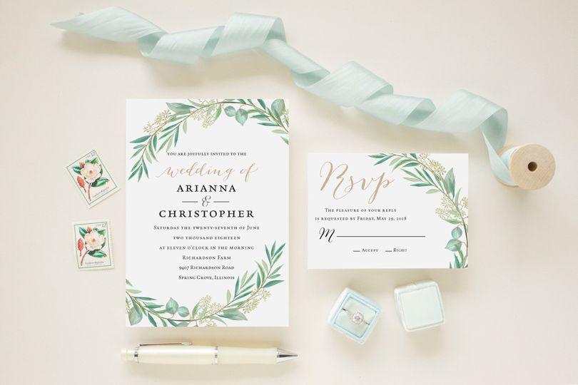 greenery leaves wedding invitation