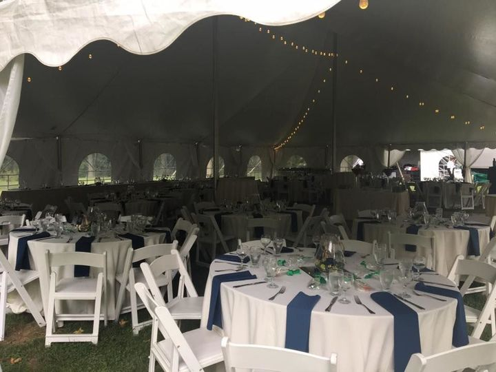 Tent set up for 150 guests