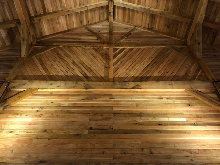 The barn's high ceilings