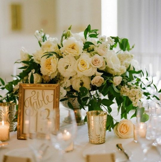Flower centerpiece with candles