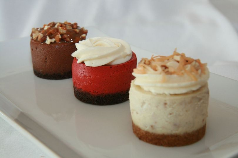 Brides Favorite Trio Line-up - Chocolate Truffle Turtle, Red Velvet and Italian Cream cheesecakes.