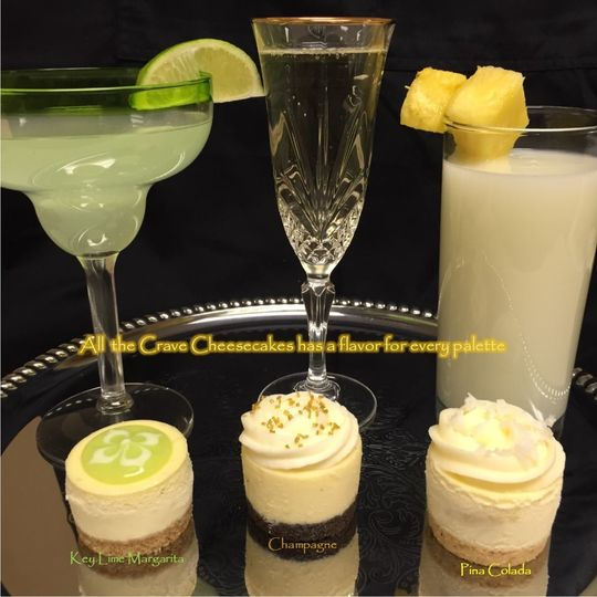 Our Celebration Trio - Key Lime Margarita, Champagne and Pina Colada Cheesecakes