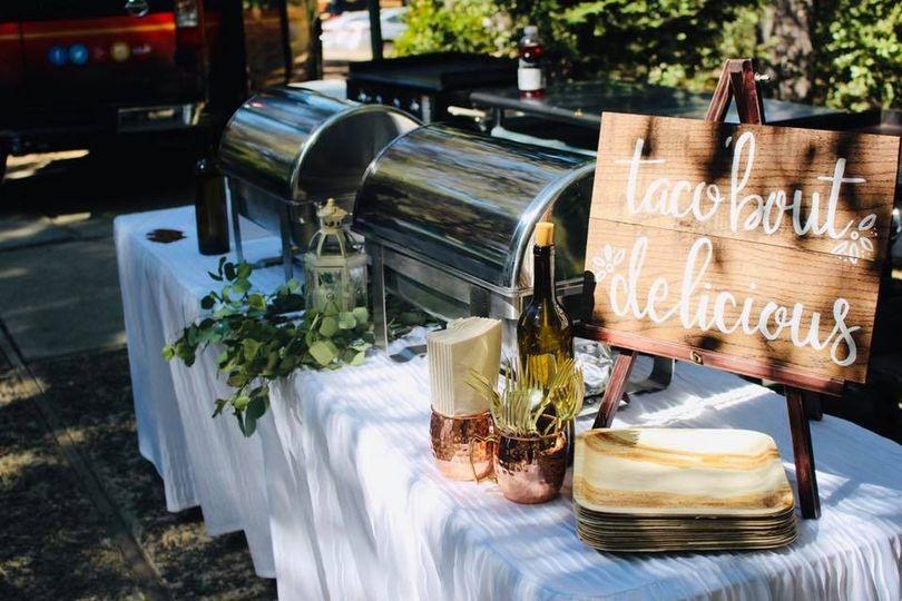 Wedding reception taco bar