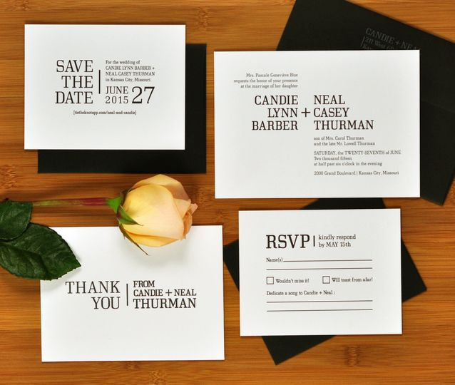 Two tone press invitations kansas city mo weddingwire 800x800 1465228454758 simple modern letterpress invite set reheart Gallery