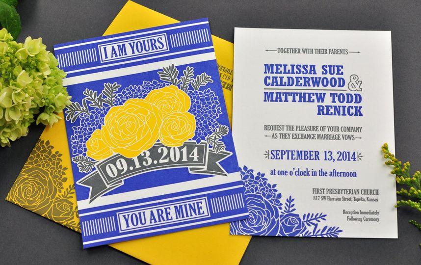 blue yellow rose wedding invitation