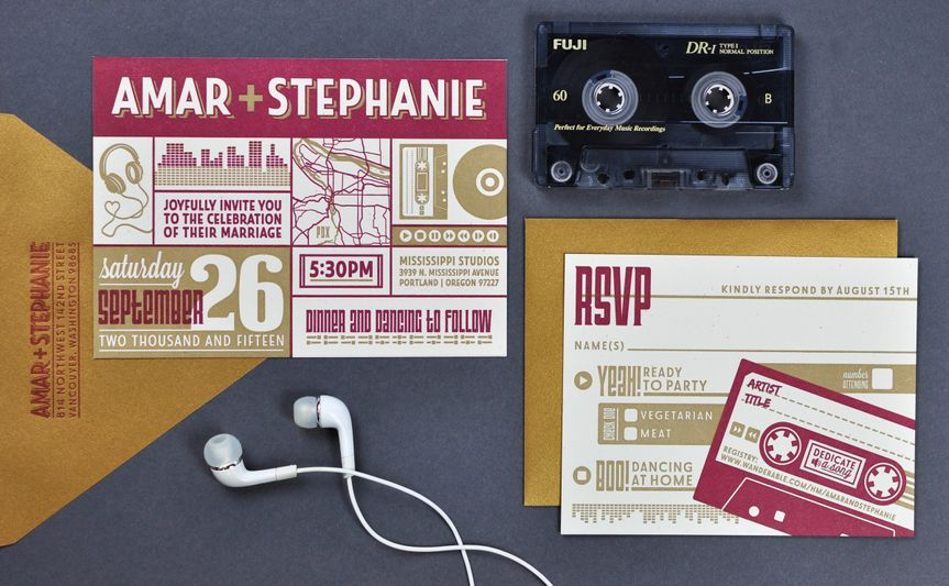 pdx music letterpress invitation