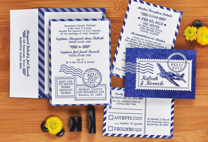 hellcat airforce wedding invitation