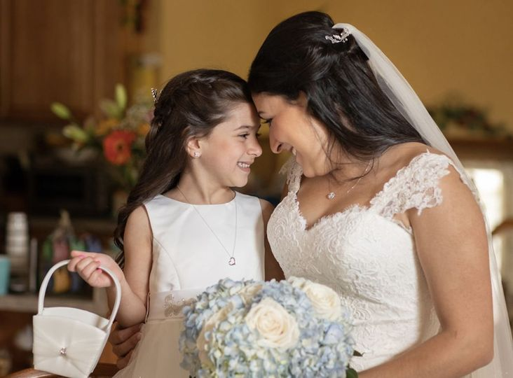 Bride and flower girl| CT wedding