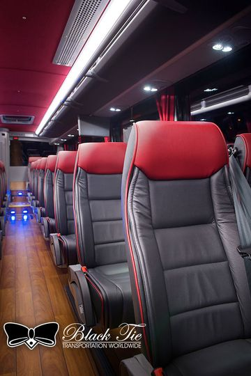 Interior of our Luxury Motor Coach seats up to 40 passengers in style. Leather Captain's Chairs...