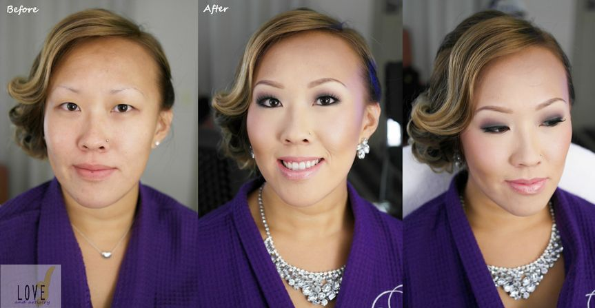before and after danna bm hair makeup with l