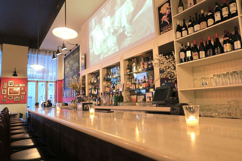 Long marble bar and big screen