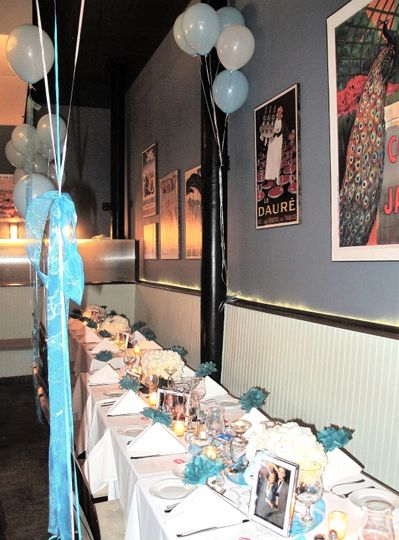 Dining room set up for Katie Couric's bachelorette party