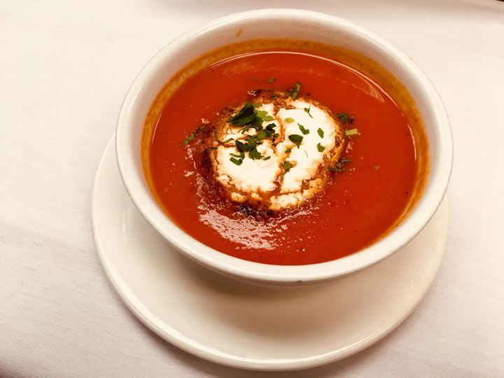 Soupe du jour: roasted red pepper & tomato with toasted goat cheese crouton