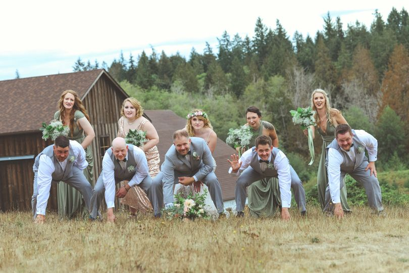 Football Bridal Party Shot