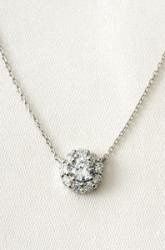 Glint Flower CZ Necklace Silver  Delicate yet stunning. Hand set pave crystals form a flower pendant...