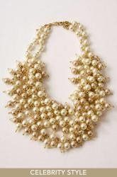 Sofia Pearl Bib Necklace  Hundreds of champagne and ivory faux pearls create a stunning statement....