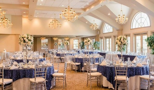 Sophisticated ballroom with French doors