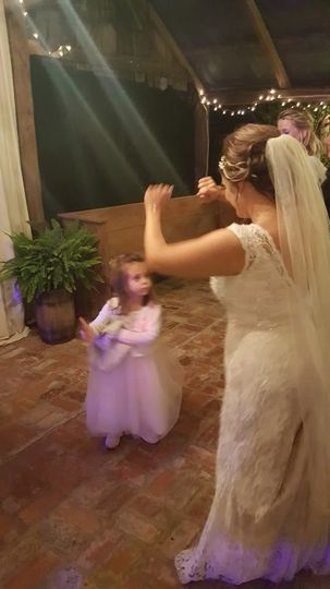 Bride with little girl