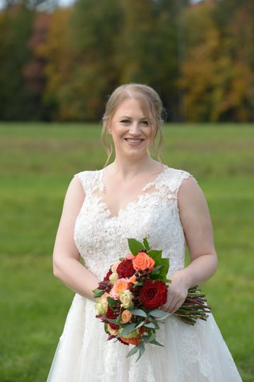 Bride with bouquet in hand