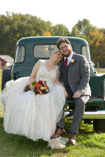 Newlyweds on the truck