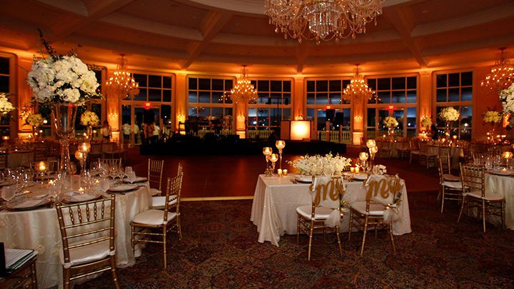 Reception tables and uplighting