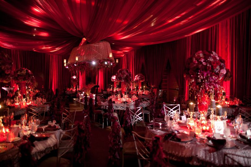 Red reception hall design