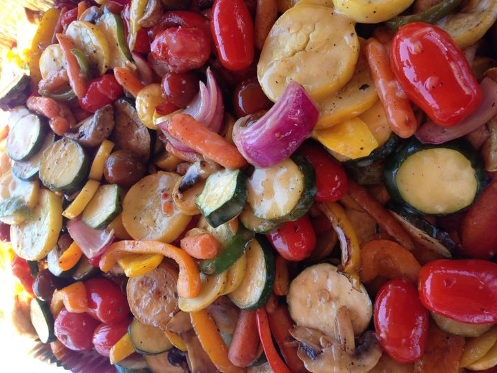Fire-grilled vegetable medley