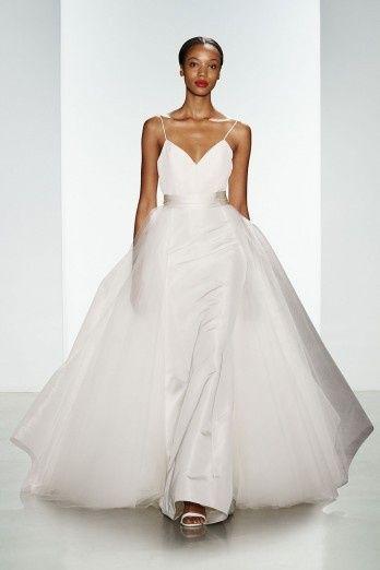 spagetti strap wedding dress tulle overskirt amsal